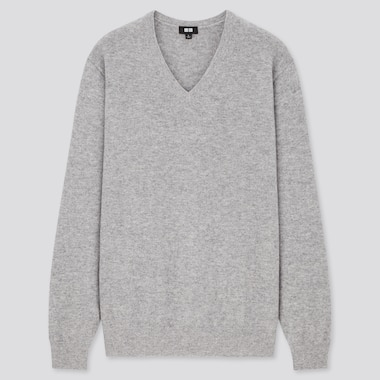 Men 100% Cashmere V Neck Jumper