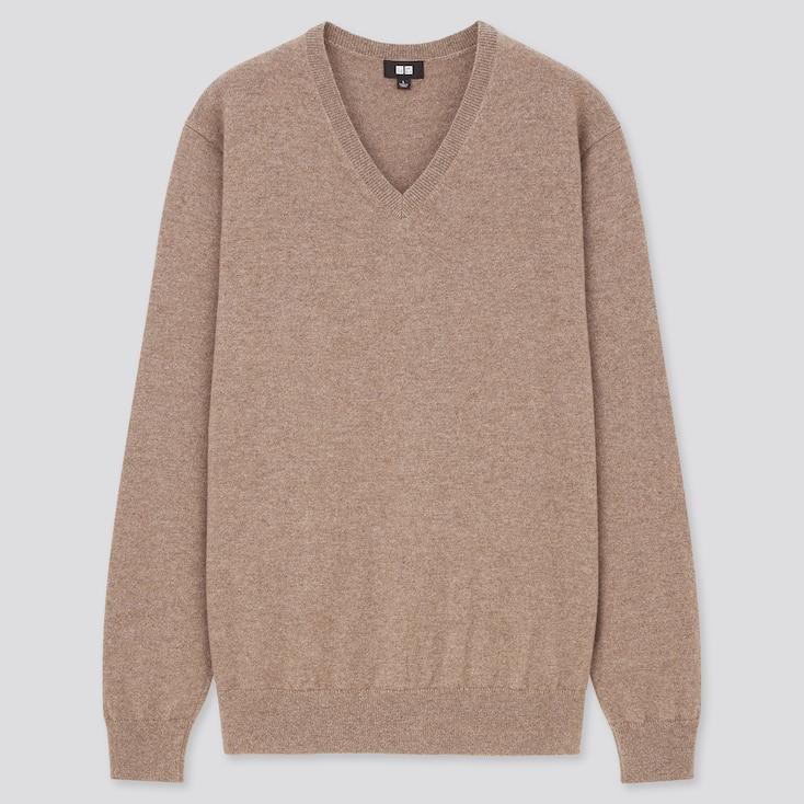 Men Cashmere V-Neck Long-Sleeve Sweater, Brown, Large