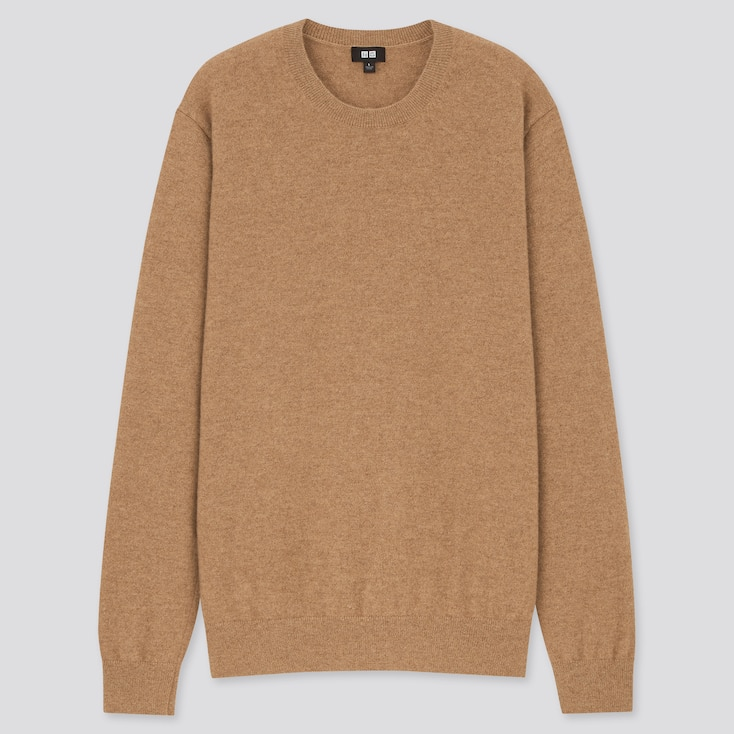 Men Cashmere Crew Neck Long-Sleeve Sweater, Brown, Large