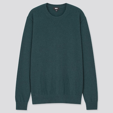 Men Cashmere Crew Neck Long-Sleeve Sweater, Dark Green, Medium