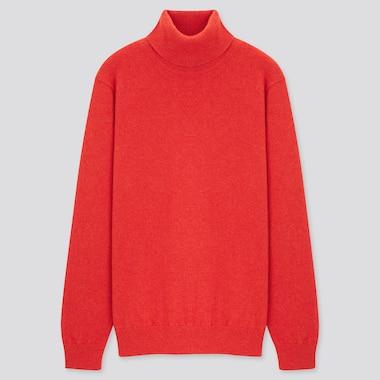 Men Cashmere Turtleneck Long-Sleeve Sweater, Orange, Medium