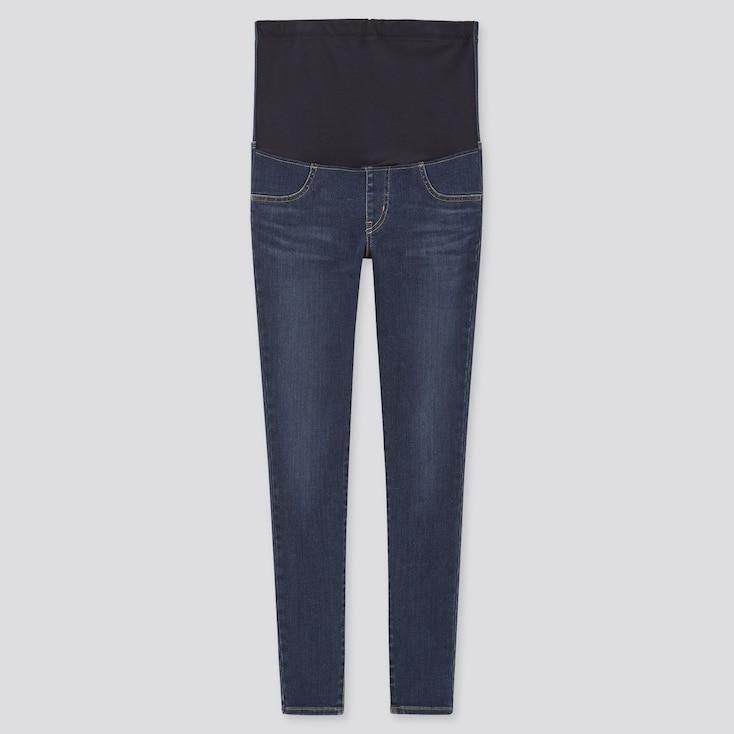 Women Maternity Ultra Stretch Jeans, Blue, Large