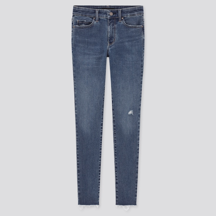 Women Ultra Stretch Distressed Jeans, Blue, Large