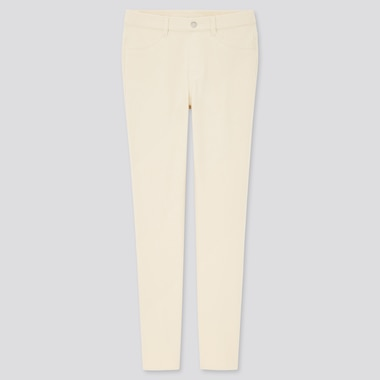 Women Ultra Stretch Leggings Pants, Off White, Medium