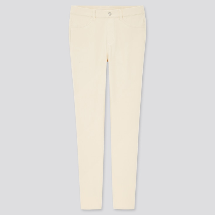 Women Ultra Stretch Leggings Pants, Off White, Large
