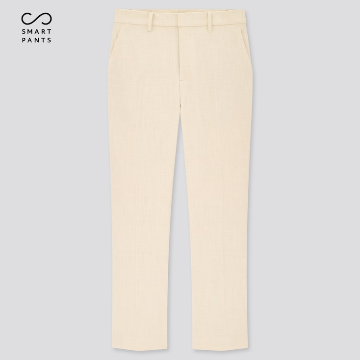 Women Smart 2-Way Stretch Solid Ankle-Length Pants, Off White, Large