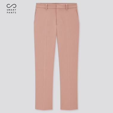 Women Smart 2-Way Stretch Solid Ankle-Length Pants, Pink, Medium