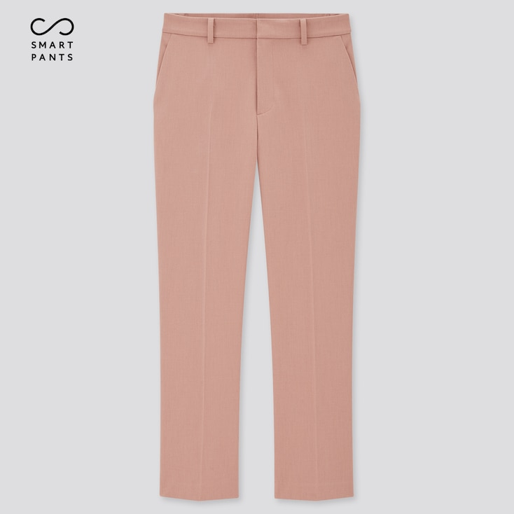 Women Smart 2-Way Stretch Solid Ankle-Length Pants, Pink, Large