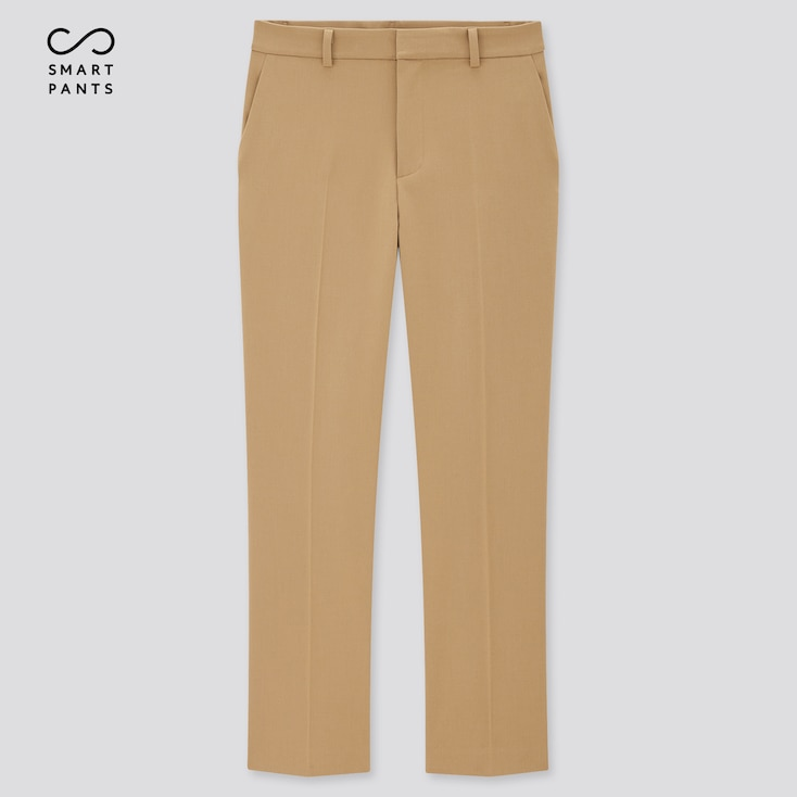 Women Smart 2-Way Stretch Solid Ankle-Length Pants, Beige, Large