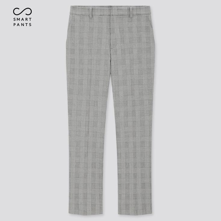 Women Smart 2-Way Stretch Glen Plaid Ankle-Length Pants, Gray, Large