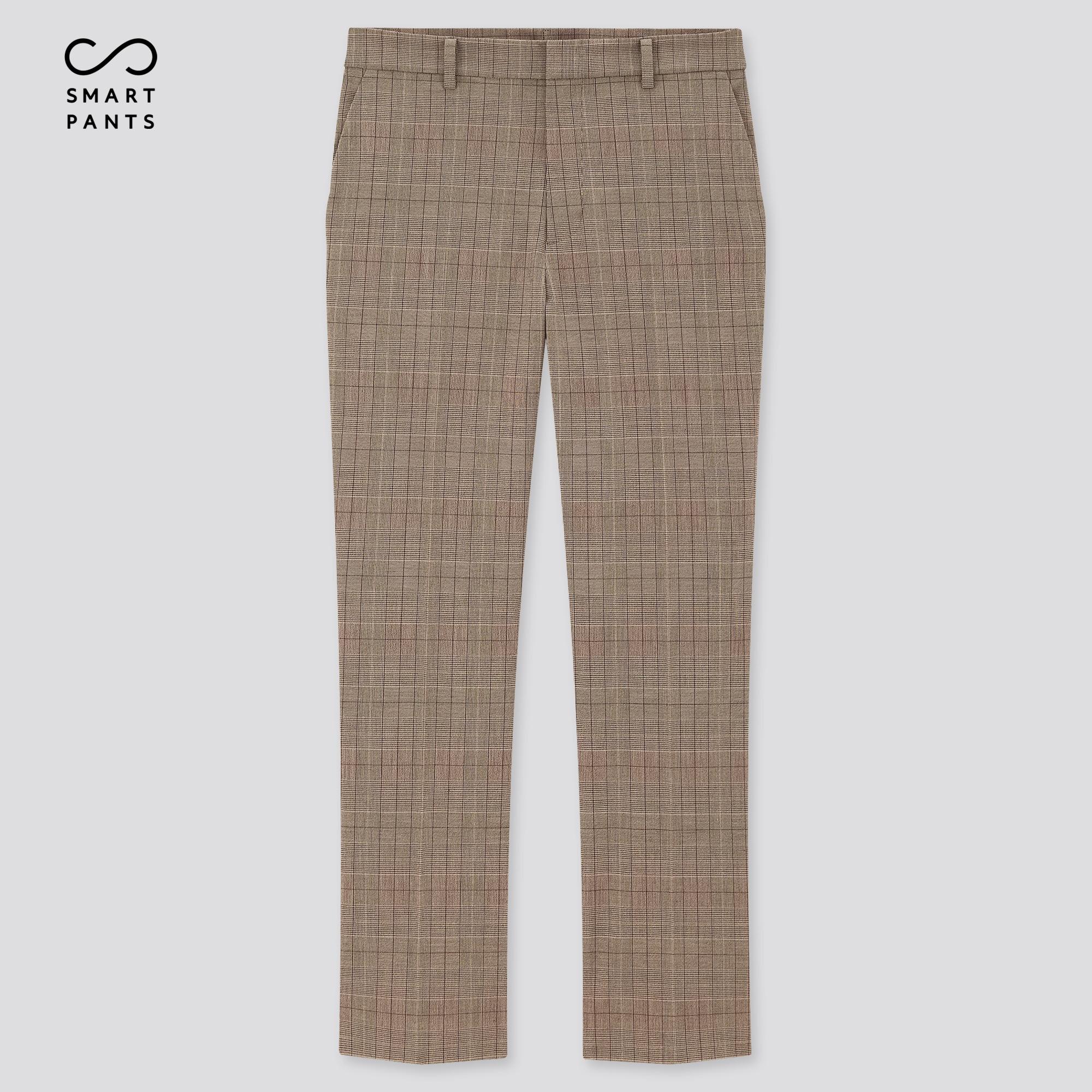 WOMEN SMART 2-WAY STRETCH GLEN PLAID ANKLE-LENGTH PANTS