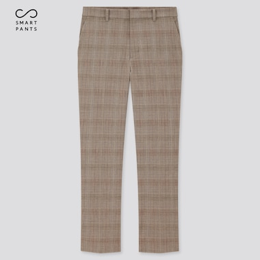 Women Smart 2-Way Stretch Glen Plaid Ankle-Length Pants, Brown, Medium
