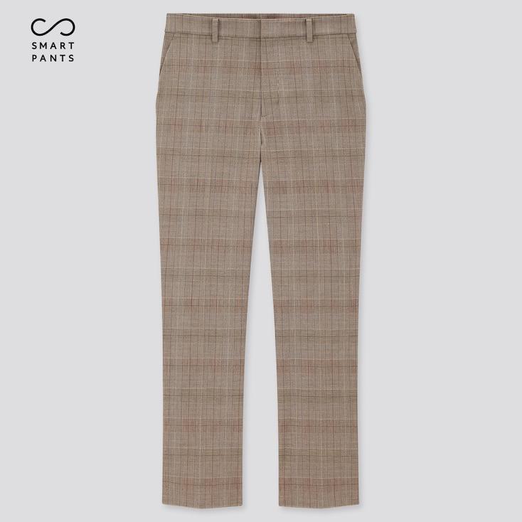Women Smart 2-Way Stretch Glen Plaid Ankle-Length Pants, Brown, Large
