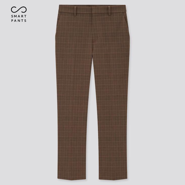 Women Smart 2-Way Stretch Glen Plaid Ankle-Length Pants, Dark Brown, Large