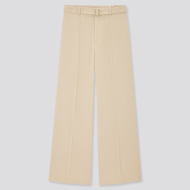 Women Belted Drape Wide Straight Pants, Natural, Medium