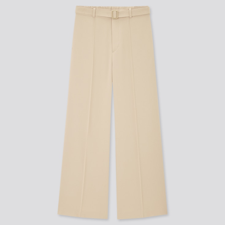 Women Belted Drape Wide Straight Pants, Natural, Large