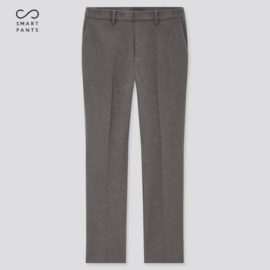 Women Heattech Smart Slim Straight Pants, Dark Gray, Medium