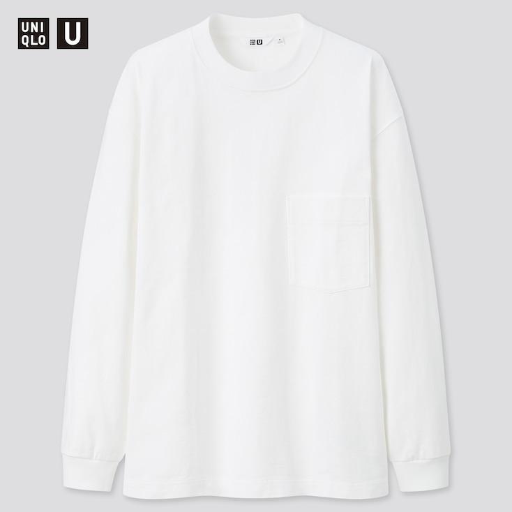 U Crew Neck Long-Sleeve T-Shirt, White, Large