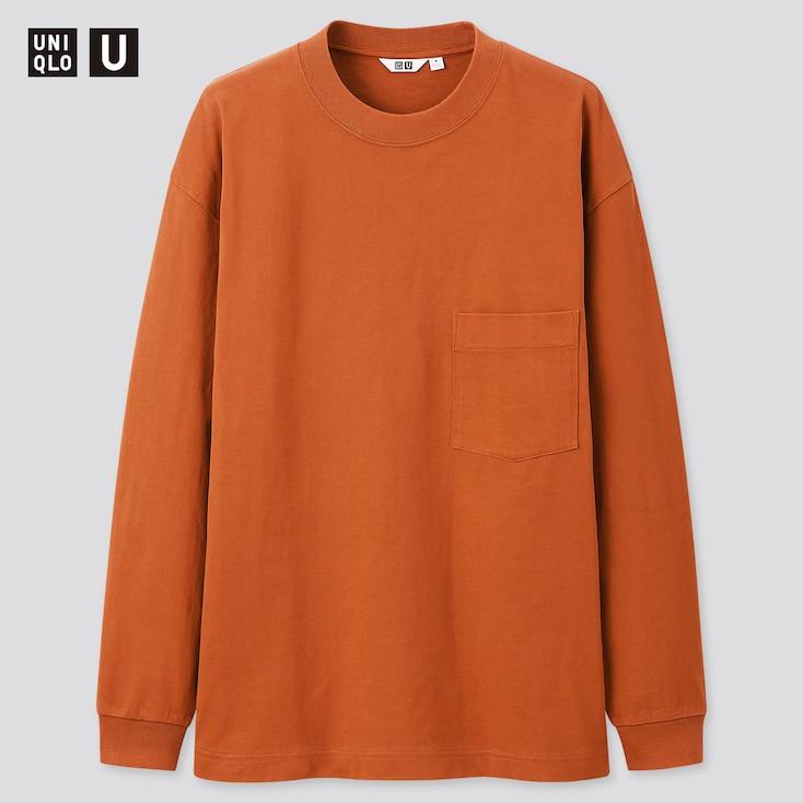 U Crew Neck Long-Sleeve T-Shirt, Dark Orange, Large