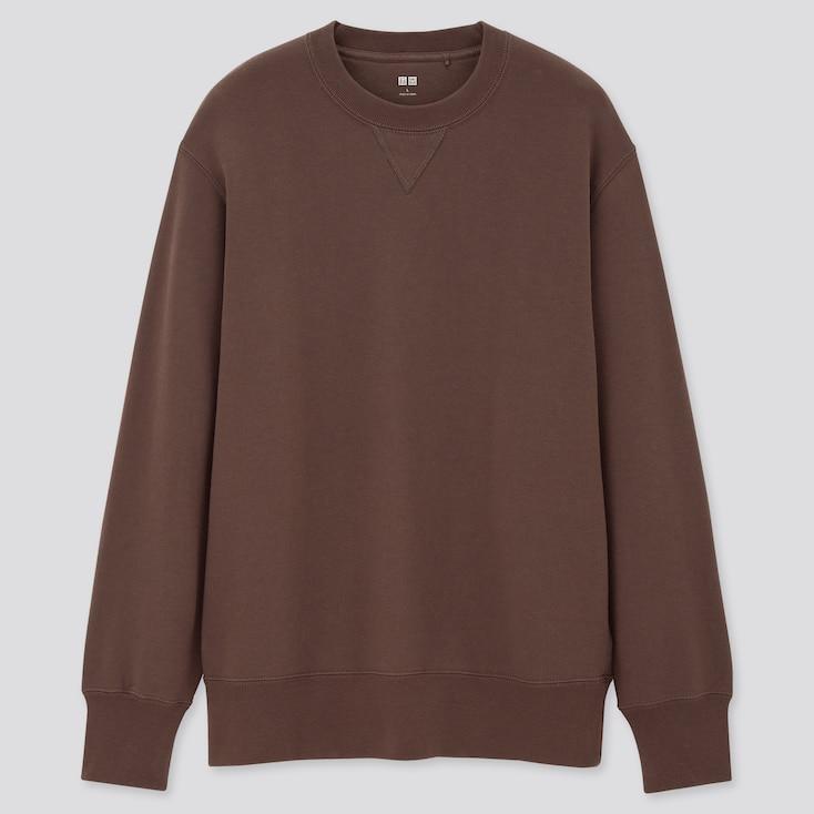 Men Long-Sleeve Sweatshirt, Dark Brown, Large