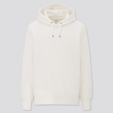 Long-Sleeve Hooded Sweatshirt, Off White, Medium
