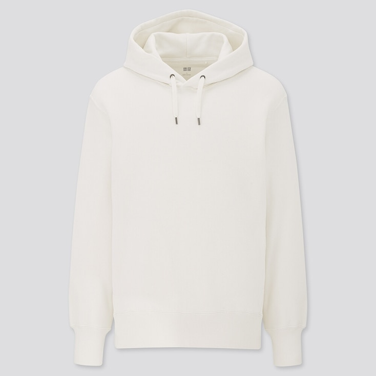 Long-Sleeve Hooded Sweatshirt, Off White, Large