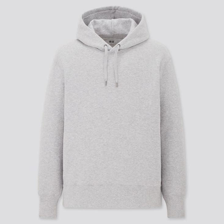 Men Sweat Pullover Hoodie, Gray, Large