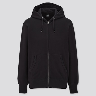 Men Sweat Full-Zip Hoodie, Black, Medium
