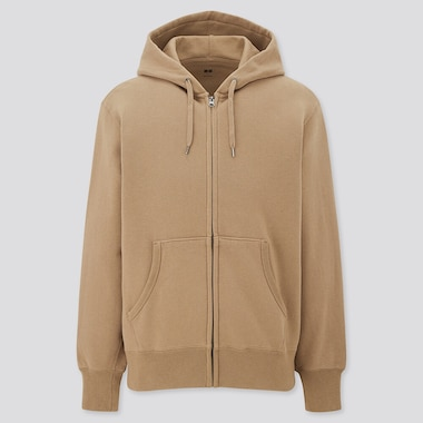 Men Sweat Full-Zip Hoodie, Beige, Medium