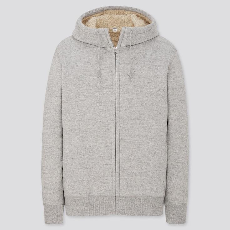 Men Pile-Lined Sweat Long-Sleeve Full-Zip Hoodie, Gray, Large