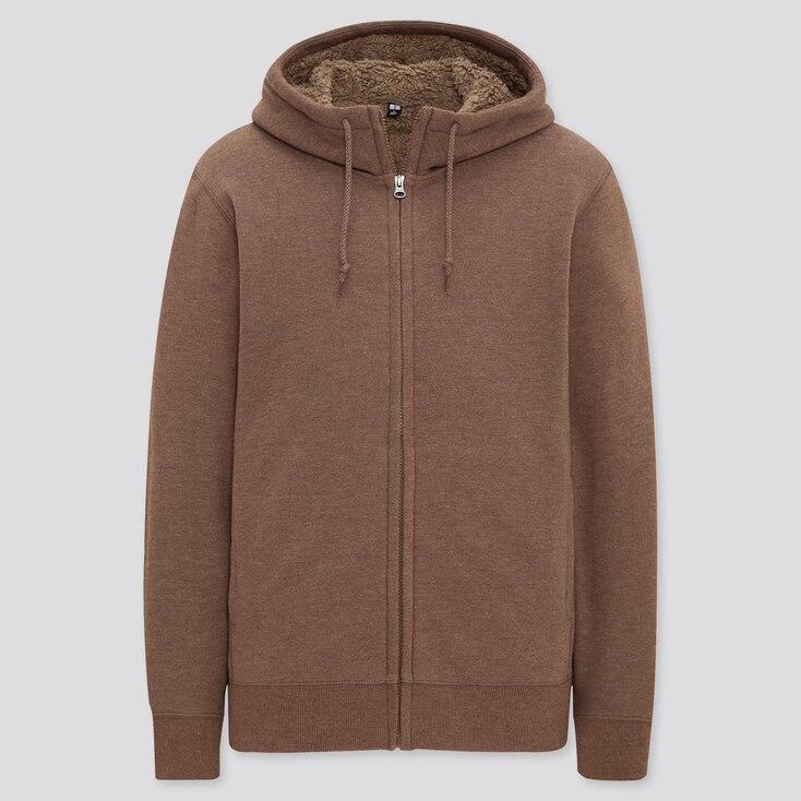 Men Pile-Lined Sweat Long-Sleeve Full-Zip Hoodie, Brown, Large