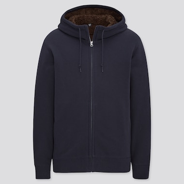 Men Pile-Lined Sweat Long-Sleeve Full-Zip Hoodie, Navy, Medium