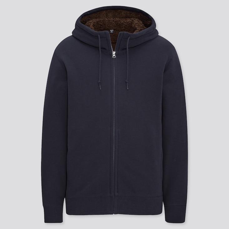 Men Pile-Lined Sweat Long-Sleeve Full-Zip Hoodie, Navy, Large