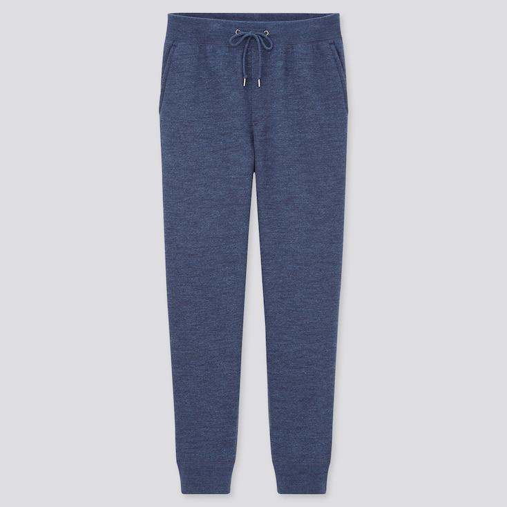 Men Pile-Lined Sweatpants, Blue, Large