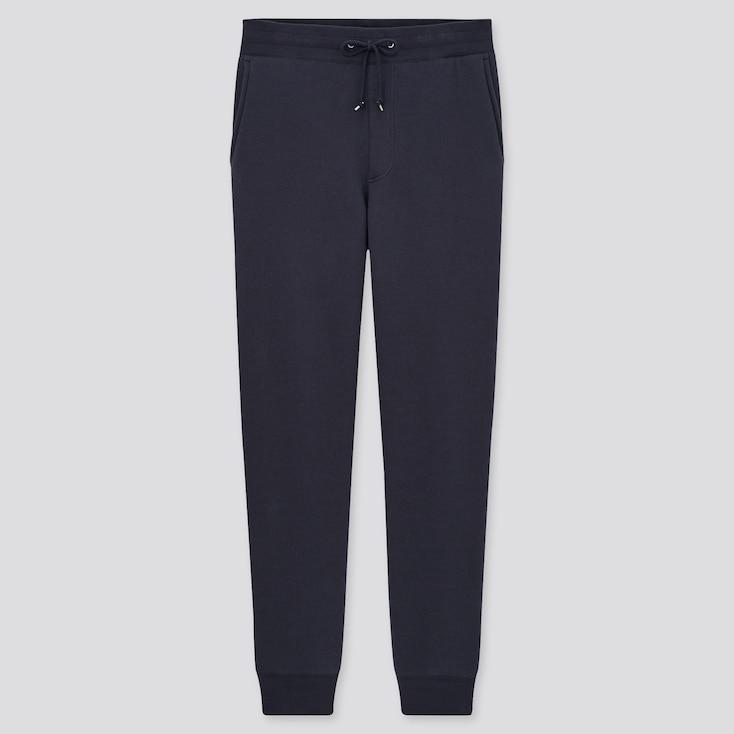 Men Pile-Lined Sweatpants, Navy, Large