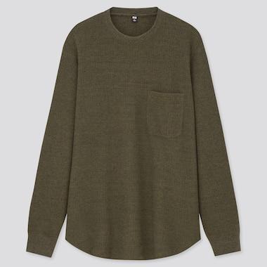 T-Shirt A Nido D'Ape Girocollo Maniche Lunghe Uomo