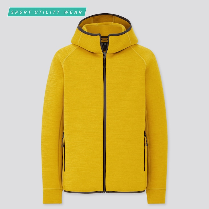 Men Ultra Stretch Dry Sweat Full-Zip Hoodie, Yellow, Large