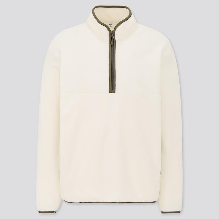 Men Fleece Long-Sleeve Half-Zip Pullover, Off White, Large