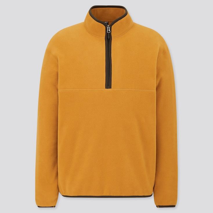 Men Fleece Long-Sleeve Half-Zip Pullover, Yellow, Large
