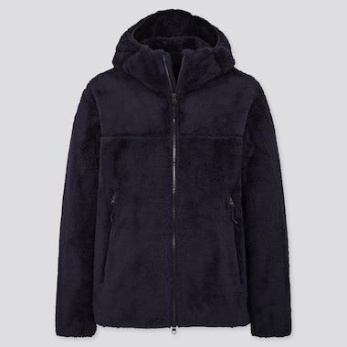 Windproof Fluffy Yarn Fleece Full-Zip Hoodie, Navy, Medium