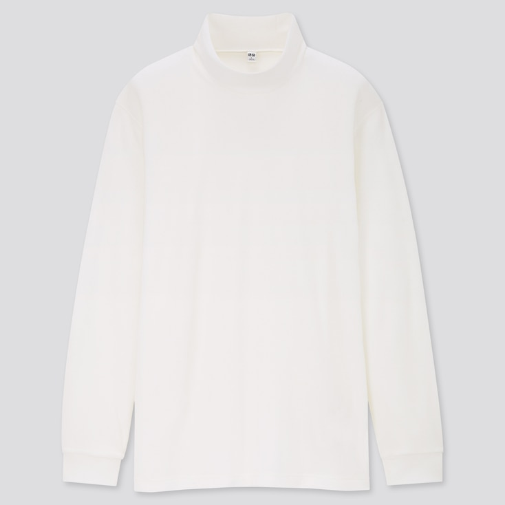 Men Heattech Fleece Mock-Neck Long-Sleeve T-Shirt, White, Large