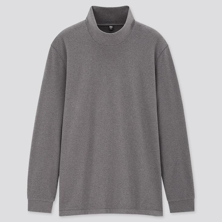Men Heattech Fleece Mock-Neck Long-Sleeve T-Shirt, Dark Gray, Large