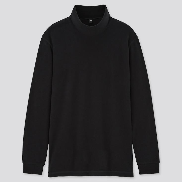Men Heattech Fleece Mock-Neck Long-Sleeve T-Shirt, Black, Large