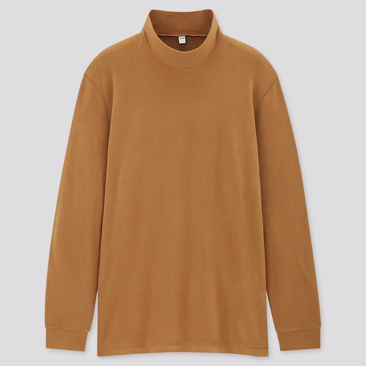 Men Heattech Fleece Mock-Neck Long-Sleeve T-Shirt, Yellow, Large