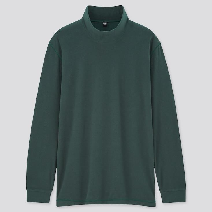 Men Heattech Fleece Mock-Neck Long-Sleeve T-Shirt, Green, Large