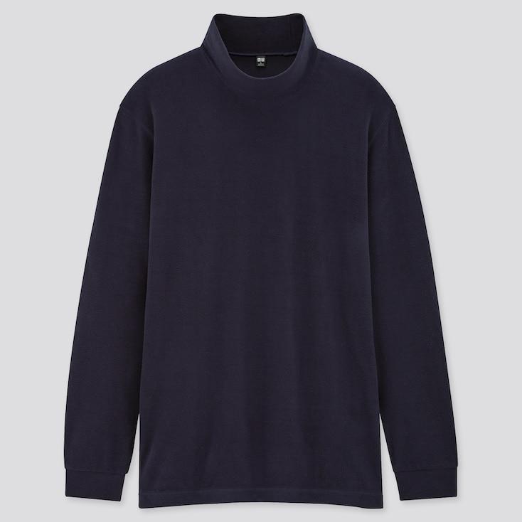 Men Heattech Fleece Mock-Neck Long-Sleeve T-Shirt, Navy, Large