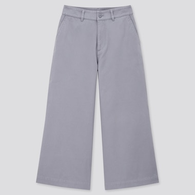 Women Wide Cropped Pants, Blue, Medium