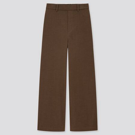 Women High Waisted Wide Fit Straight Leg Brushed Trousers