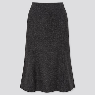 Women Wool-Blend Flare Skirt, Dark Gray, Medium