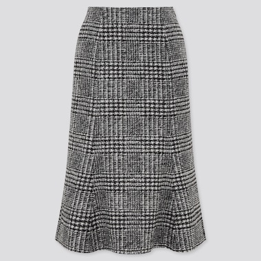 Women Wool-Blend Flare Skirt, Black, Medium